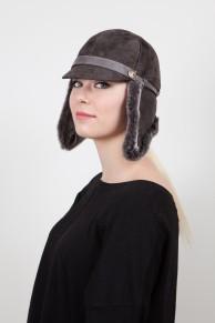 """Chapeau """"Casaque"""" Gris en Velours d' Agneau"""