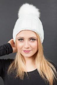 """Bonnet  """"St Moritz"""" Blanc en Laine et Pompon en Renard"""