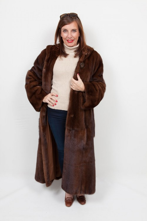 Long brown mink coat with hood