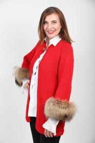 gilet long en laine rouge et renard