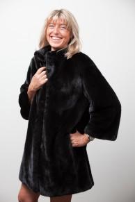 Manteau de Vison Noir Blackglama avec Capuche Amovible