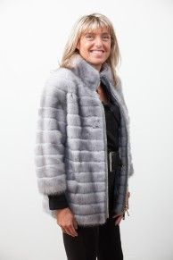 Grey Sapphire Mink Jacket with Zip