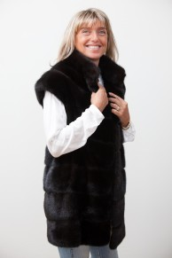 Long Dark Brown Mink Vest