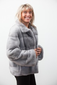 Grey Mink Jacket with Removable Hood