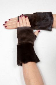 Brown Mittens in Mink and Leather
