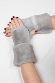 Grey Sapphire Mittens in Mink and Leather