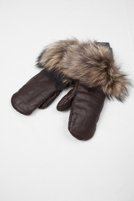 Brown Gloves in Finn Raccoon  Fur and Leather