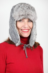 Grey or Black Shapka in Rabbit Fur and Pure Wool