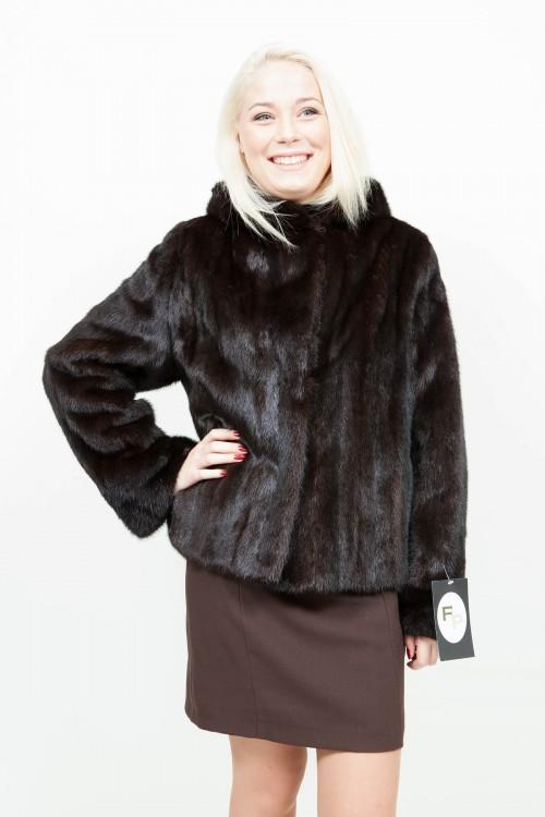 veste longue en vison avec capuche dark brown. Black Bedroom Furniture Sets. Home Design Ideas