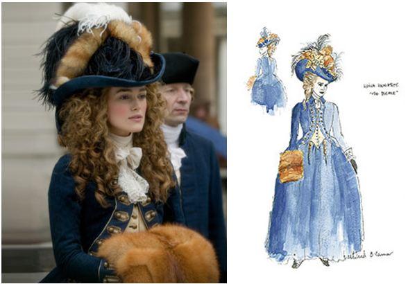 """Costume anglais du XVIII° siècle inspiré par des croquis d'époque et réalisé pour le film """"The Duchess"""""""