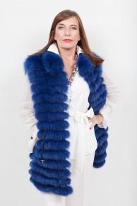 Gilet de Renard Teinté Bleu Sans Manche