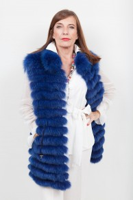 (SOLD) Long Blue Fox Vest