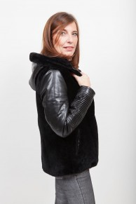 Leather and Fur Jacket with Hood Lamb