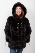 (SOLD) Long Black Mink Jacket with Hood