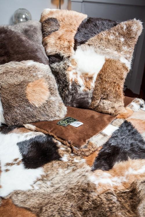 Cushion of Long Hair Rabbit Patchwork