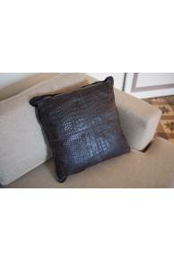 "Brown Leather Cushion  type ""Crocodile"""