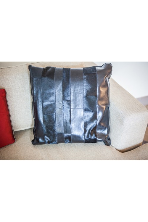 Black Leather & Cowhide Cushion