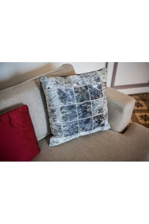 Grey & Brown Cowhide Cushion