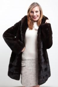 Dark Brown Mink Coat with Hood