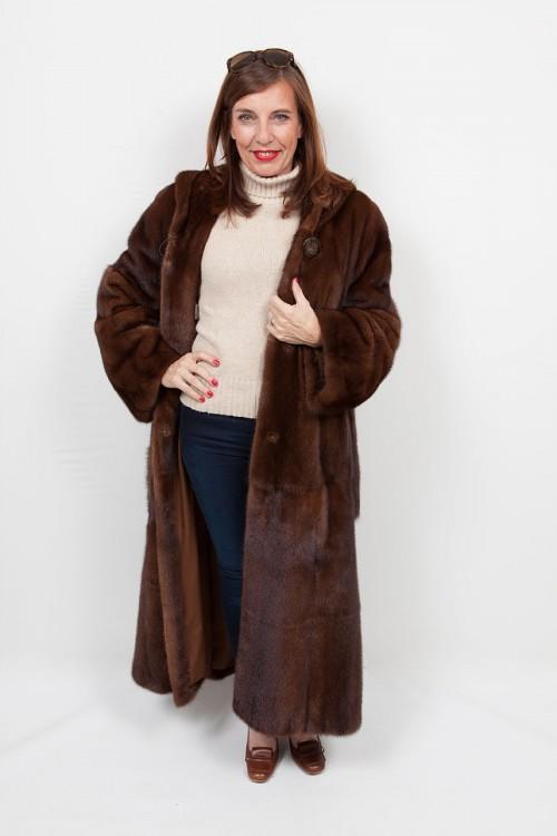 Manteau Long de Vison avec Capuche