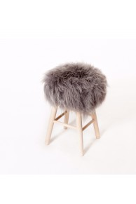 Stool with Icelandic Grey Sheepskin