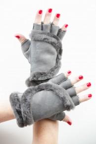 Grey Mittens in Lamb Fur and Lamb Velvet