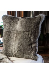 Cushion of Natural Grey Rabbit Fur