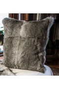 Cushion of Natural Grey Rabbit Fur