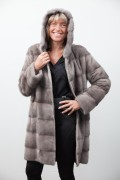 Long Silver Blue Mink Coat with Hood Signed Cassiani