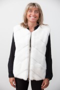 White Leather Jacket with Mink Vest