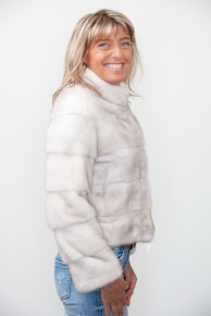 White Cross Mink Bomber