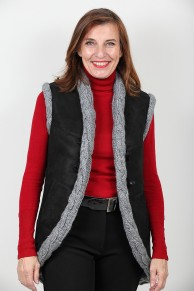 Long Sleevless Vest in Fur Lamb and Pure New Wool