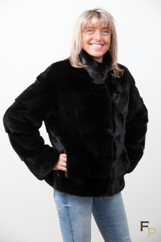 Veste cuir noir sans col