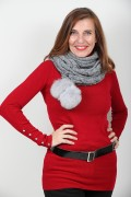 Grey Snood in Pure New Wool with Fox Pompoms