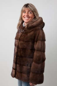 Brown Mink Jacket with Hood