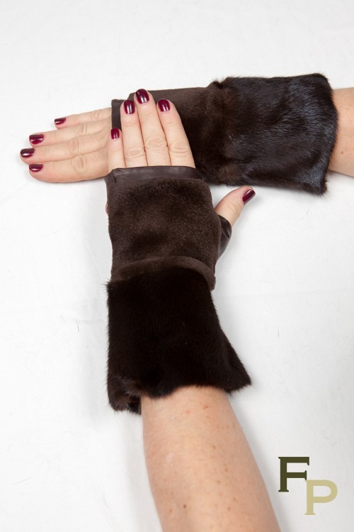 Mittens in Brown Mink Fur and Leather