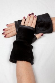 Mittens in Blackglama Mink and Black Leather