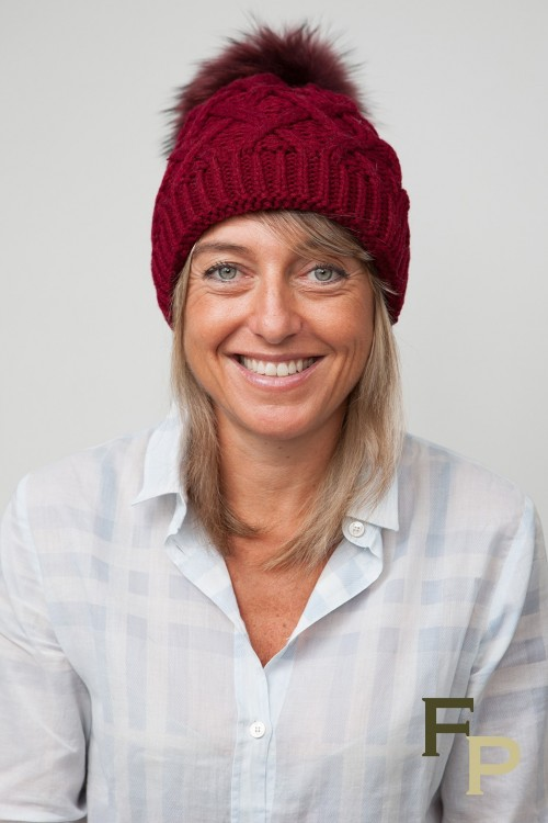 Burgundy Cap with Finn Raccoon Fur Pompom