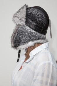 Grey Shapka in Rabbit Fur and Woolen Fabric
