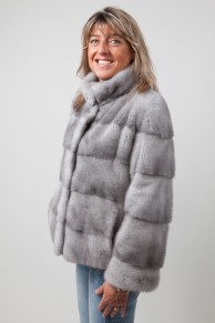Straight Grey Sapphire Mink Jacket