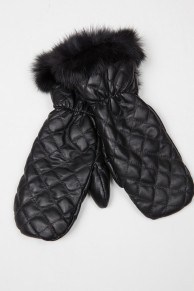Dark Brown Long Mittens in Lamb Fur and Lamb Velvet