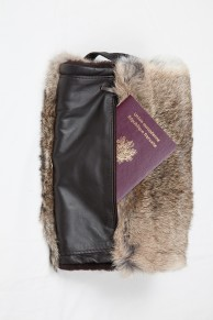 Fur Hand Warmer in  Natural Rabbit Fur with Pocket