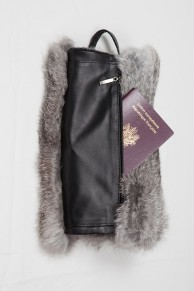Fur Hand Warmer in Grey  Rabbit Fur with Pocket