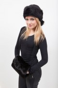 Fur Hand Warmer in Black Rabbit Fur with Pocket