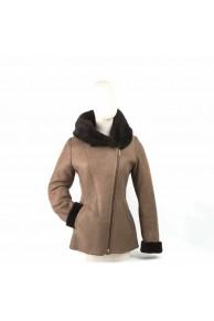 veste femme en agneau mérinos marron