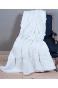 Natural White Rabbit Fur Blanket