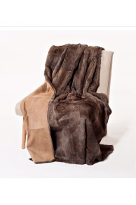 Natural Brown Rabbit Fur Blanket