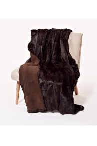 "Brown Rabbit Fur Blanket ""Chocolate"""