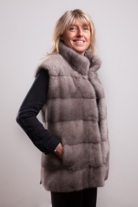 Silver Grey mink jacket with hood