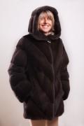 """Manteau de Vison Diagonal """"Zibeline"""" à Capuche"""